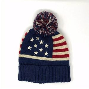 Knit American Flag Beanie Pm Pom Hat